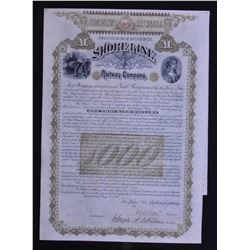 Province of New Brunswick Shoreline Railway Company Stock Certificate