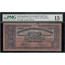 Government of Newfoundland 50 Cents Cash Note, 1913-14