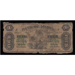 Bank of Acadia $4, 1872