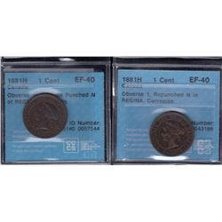 1881H One Cent - Lot of 2
