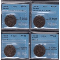 1881H One Cent - Lot of 4