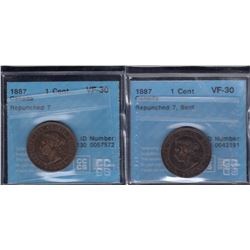 1887 One Cent - Lot of 2
