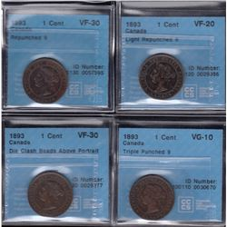 1893 One Cent - Lot of 4