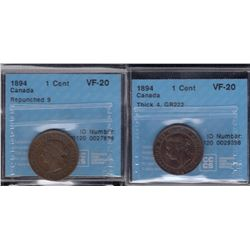 1894 One Cent - Lot of 2