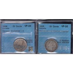 1858 Twenty Cents - Lot of 2
