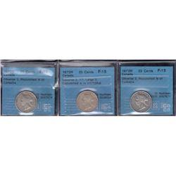 1872H Twenty-Five Cents - Lot of 3