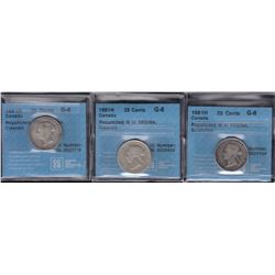 1881H Twenty-Five Cents - Lot of 3
