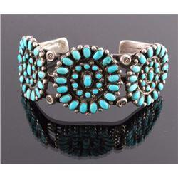 Navajo Sterling Petit Point Turquoise Bracelet