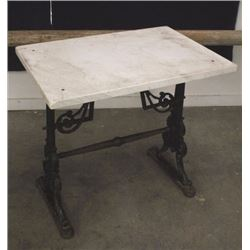 Cast Iron & White Marble Top Garden Table