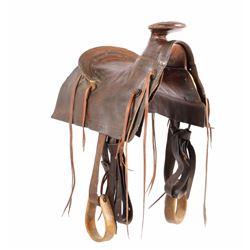 "Early ""Mother Hubbard"" Style Custom Leather Saddle"