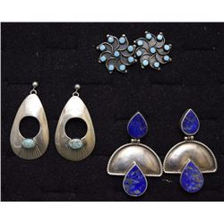 THREE PAIR NAVAJO EARRINGS
