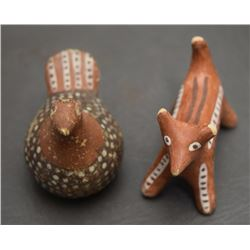 TWO ISLETA POTTERY FIGURES