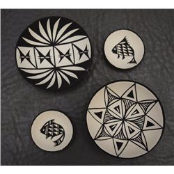 FOUR MINI ACOMA POTTERY BOWLS (REANO)