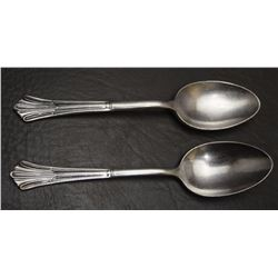 TWO SILVER PLATE SPOONS MARKED SANTA FE