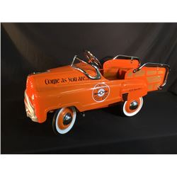 VINTAGE A&W KIDS METAL PEDAL PICKUP TRUCK STYLE PEDAL CAR, WITH VINTAGE A&W ROOT BEER FLOAT MUGS