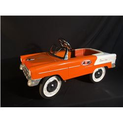 VINTAGE A&W KIDS PEDAL CAR, WITH LEATHER SEAT, WORKING STEERING AND PEDALS, 40'' LONG