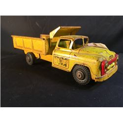 VINTAGE METAL TOY CAR, DEPARTMENT OF HIGHWAYS, WITH MOVABLE TRUCK BED, 18'' LONG