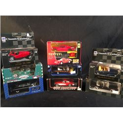 COLLECTION OF 9 SCALE MODEL REPLICA CARS, IN ORIGINAL PACKAGING, INC. CARS BY ACTION, GEARBOX,