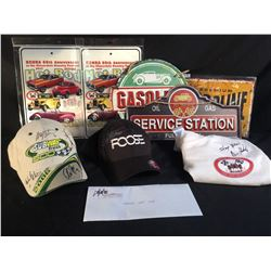 VARIOUS RACING COLLECTABLES INC AUTOGRAPHED SUBWAY HAT BY 4 NASCAR GREATS (WITH CERTIFICATE OF