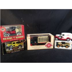 COLLECTION OF 5 REPLICA DELIVERY TRUCKS INC. REPLICAS OF OVERWAITEA, PABST, HOME DEPOT, ATLAS AND