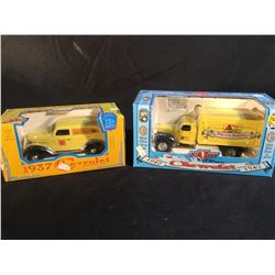2 SCALE MODEL DIE CAST VINTAGE CHEVROLET TRUCK COIN BANKS INC. 1942  1 1/2 TON TRUCK, AND 1937