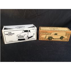 2 VINTAGE  SCALE DIE CAST MODELS INC. FORD 1936 PANEL VAN, AND 1949 CHEVROLET PANEL
