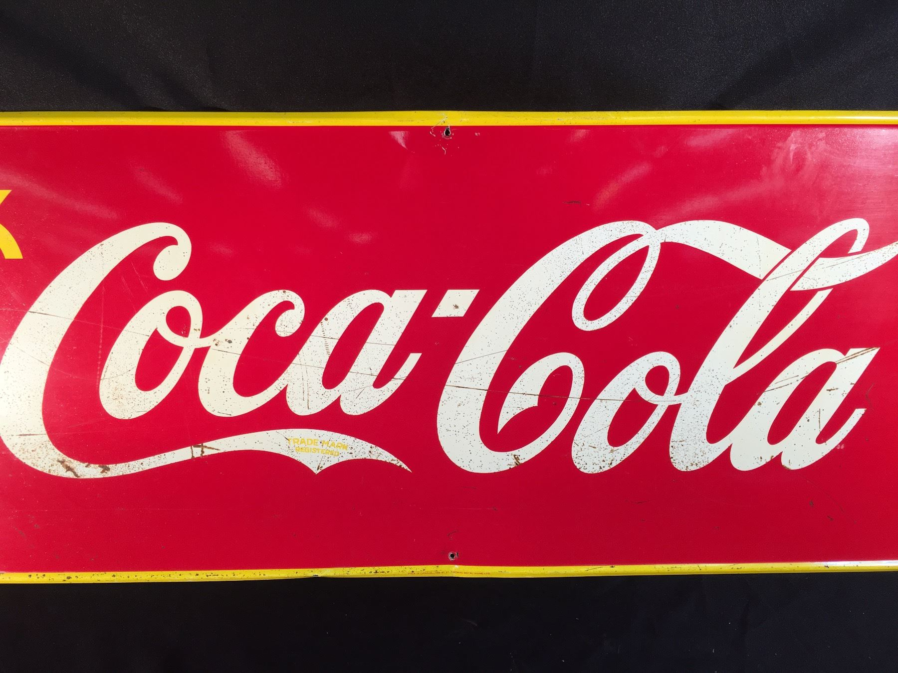 VINTAGE COCA-COLA ADVERTISING SIGN, MADE IN CANADA IN 1940