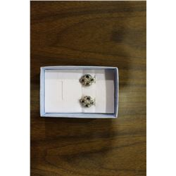 CERTIFIED NEW PAIR OF DIAMOND + SAPPHIRE EARRINGS 1.05CT SAPPHIRE, STERLING SILVER, OMEGA STYLE