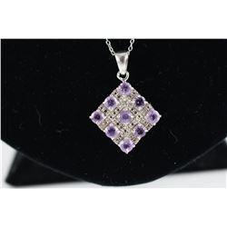 CERTIFIED DIAMOND + AMETHYST NECKLACE, 1.85 CT 9 ROUND PURPLE AMETHYST GEMSTONES, STERLING SILVER,