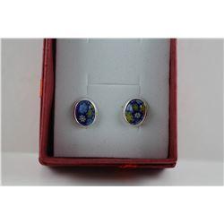 CERTIFIED  NEW PAIR OF MURANO GLASS EARRINGS, BLUE + YELLOW MILLIFOIRI FLOWER DESIGN, STERLING