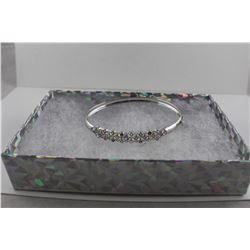 MULTI GEMSTONE + DIAMOND BANGLE BRACELET, STERLING SILVER, SAFETY CATCH