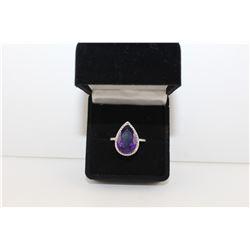 STUNNING PURPLE AMETHYST + DIAMOND RING, PEAR CUT, RICH DEEP PURPLE WITH 2 SIDE DIAMONDS