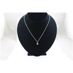 """RED RUBY + DIAMOND PENDANT/NECKLACE, OVAL CUT RUBY, 18"""" CHAIN"""