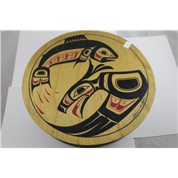 """LARGE 11"""" FIRST NATIONS PAINTED WOODEN BOX FILLED WITH ASSORTED JEWELRY"""