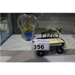 VINTAGE SCALE, TOY WAGON AND BLOWN GLASS VASE