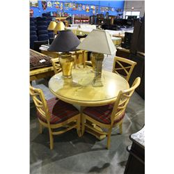 PINE TABLE WITH 4 CHAIRS AND 3 LAMPS