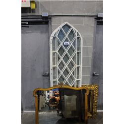 PAIR OF WINDOWS FROM CHURCH STEEL FRAME AND 2 MIRRORS, ONE FRAME