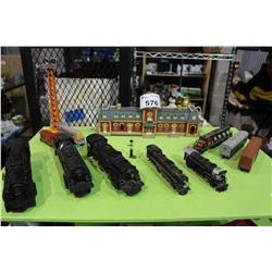 SHELF LOT OF H.O AND LIONEL MODEL TRAIN ENGINES