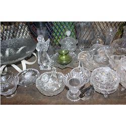 SHELF LOT OF GLASSWARE