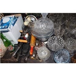 SHELF LOT OF MISC GLASSWARE