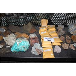 SHELF LOT OF MINERAL SAMPLES AND SAMPLES FROM GOLD MINE