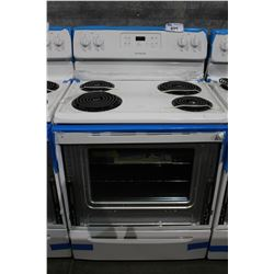 FRIGIDAIRE WHITE RANGE AND OVEN FREIGHT DAMAGE CONDITION UNKNOWN