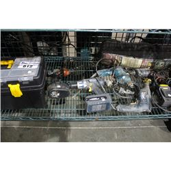 SHELF LOT OF MISC TOOLS INCLUDING CORDLESS DRILLS, BELT SANDERS AND MORE