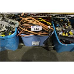THREE TOTES OF TOOLS, EXTENSION CORDS AND MORE