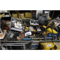 SHELF LOT OF MISC  HAND TOOLS, AND POWER TOOLS