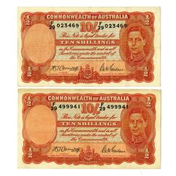 Commonwealth of Australia, 1939 Issued banknote with Black Signature Pair.