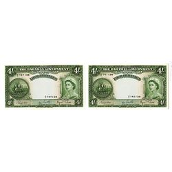 Bahamas Government, ND (1953) Issued Banknote Pair.