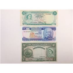 Central Bank of Barbados and Bahamas Government issue Assortment.