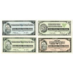 Canadian Tire Corp'n Ltd., ca. 1970s-1980s, Quartet of Scrip Notes