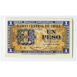Banco Central De Chile, 1943 Issued Banknote.